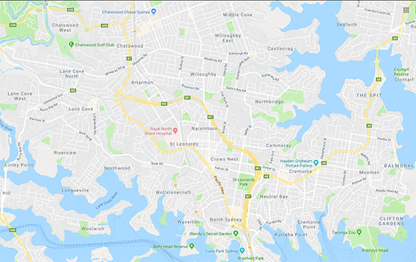 Service area map for the Lower North Shore of Sydney